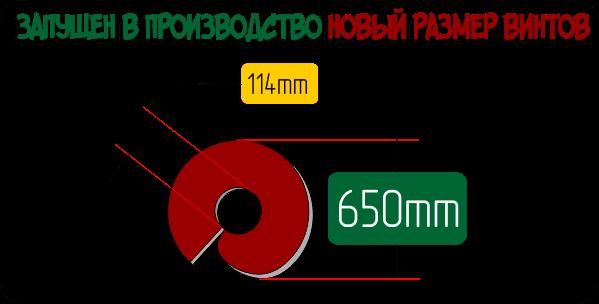 Новые размеры внутренних диаметров лопастей